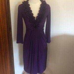 Maggie London Ruffle Neck 3/4S leeve Purple Dress